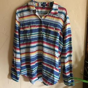 🌈RAINBOW striped southwestern button up shirt